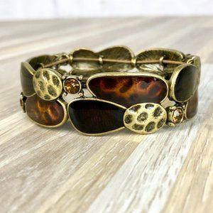 Lia Sophia Hammered Gold & Brown Stretch Bracelet